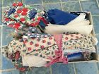 1930's Antique fabric pieces cut for a quilt in box 2 x 6 x 8
