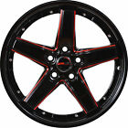 4 GWG Wheels 17 Black with Red Mill DRIFT Rims fits BMW Z4 ROADSTER 2003 2006