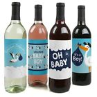 Boy Special Delivery Blue Stork Baby Shower Wine Bottle Label Stickers 4 Ct