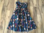NWOT Anthropologie Maeve Women Blue Strapless Colorful Native Bird Dress Sz 0