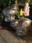 SET Primitive Antique Tin Style Easter Chick Chicken Silver Resin Chocolate Mold