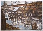 BOAT HARBOR EXPRESSIONIST LANDSCAPE VINTAGE LARGE OIL PAINTING 22x30 MID-CENTURY