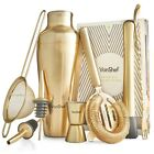 VonShef Gold Cocktail Shaker Barware Set Stainless Steel  Recipe Book Gift Box