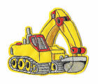Iron On Embroidered Applique Patch Yellow Construction Backhoe 058