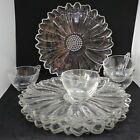 Vintage Colony Glass Daisy 8 Piece TV Set Snack Plates Cups Made in USA