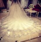 Bling Bling Wedding Bride Veil Crystal Cathedral Applique Rhinestone White Ivory
