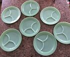 Lot of 7 Vintage Anchor Hocking Fire-King Jadeite Divided BBQ Picnic Plates