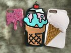 Lot Of 3 iPhone 6 Case Soft Silicone Ice Cream Come Frosting Pink Sprinkles Cute