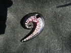 Dichroic Pendant hand blown Art Glass necklace Jewelry one of a kind pink black