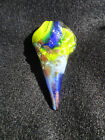 Dichroic Pendant hand blown Art Glass necklace Jewelry one of a kind blue gold