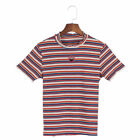 Women Heart Striped T shirt Hollow Out Short Sleeve Casual Summer Multicolor