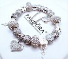 Authentic Pandora Sterling Silver Charm Bracelet White Love With European Charms