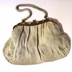Vintage Handbag Chain USA Made 1920s White Evening Mesh Bag Gold Clasp BEAUTIFUL