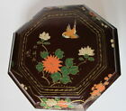 Antique Chinese Lacquer Wood  Lunch Food Box Hand Painted Flowers Birds