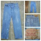 VTG LEVIs BUTTON FLY JEANS 501 XX Blue Denim Made in USA 38 X 34 Meas 34 X 30