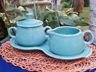 HOMER LAUGHLIN FIESTA COVERED SUGAR/CREAMER TURQUOISE LID/TRAY fig 8 tray VTG