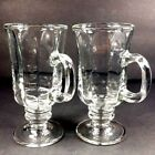 Set of 2 Libby Irish coffee stemmed clear glass cups goblet with handle 5.7