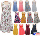 USA Womens Sleeveless Flowy Midi Summer Beach A Line Tank Dress S M L 1X 2X 3X