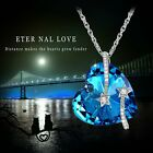 Venus Shooting Star Blue Heart Necklace Made with SWAROVSKI Elements Crystals