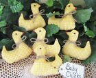 6 Handmade Yellow Gingham fabric Chicks bowl fillers Country Easter Home Decor