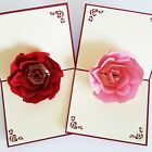 3D Pop Up Handmade Red Pink Rose Flower Mothers Day All Occasions Greeting Card
