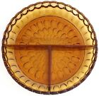 Vintage Indiana Amber Glass Thumbprint Divided Dish Nut Candy Relish NEW