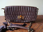 AUTH LANVIN BROWN HAPPICOLO Bag in QUILTED CALFSKIN SHOULDER BAG BORSA SAC