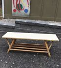 vintage 1940s 50s RETRO rattan TIKI bamboo COFFEE TABLE bench stand surfer MCM
