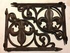 SET OF 4 FLEUR DE LIS SHELF BRACKET BRACE, Antique Brown Finish cast iron