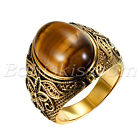 Men Vintage Gold Stainless Steel Oval Tiger Eye Stone Patterned Band Ring 7 12