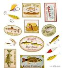 Fishing Lure Fish Canoe Signs Scrapbook Stickers