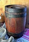 Antique Primitive Small Wooden Barrel with Metal Straps Powder Keg Whisky Cider