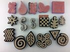 Chunky Foam Stamps Few Rubber Lot of 17 Various Shapes Swirls Chevron Pear Leaf