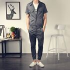 Mens Vintage Casual Slim Overalls Short Sleeve Jumpsuits Rompers Pants Dungarees