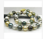 GORGEOUS 11-12MM SOUTH SEA ROUND MULTICOLOR PEARL ECKLACE 18INCH 1925S
