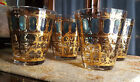 Vintage Culver, Rocks Glasses -  Gold and Green - Scrolls Design