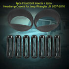 7 Black Mesh Grill Inserts+2 Angry Headlight Bezels For 2007 16 Jeep Wrangler JK