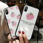 Cute Peach Shockproof Bumper Hard Glass Back Case Cover For iPhoen 8 7 6 Plus X