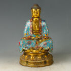 Chinese Exquisite Brass Cloisonne Hand-made Carved Buddha Statue GL567