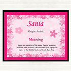 Sania Name Meaning Dinner Table Placemat Pink