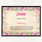 Sania Name Meaning Mouse Mat Pad Floral