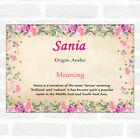 Sania Name Meaning Floral Certificate