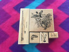 Set of 5 Fishing Theme Mounted Rubber Stamps Stampin Up Pole Trout Ducks Pond