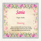 Sania Name Meaning Drinks Mat Coaster Floral