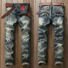 Mens Vintage Joggers Slim Trousers Denim Pants Running Bottoms Ripped Jeans NEW