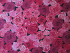 SMALL ROSES RED PINK ROSE FLOWERS COTTON FABRIC FQ