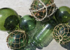 Japanese GLASS Fishing FLOATS (7) Dark GREEN Mixed Sizes Net Roller Authentic