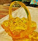 VINTAGE BEAUTIFUL MID-20th CENTURY PRESSED YELLOW GLASS BASKET CANDY DISH