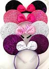 4 Pc MIX SHINY MINNIE MOUSE EARS HEADBANDS BLACK PINK SILVER PURPLE Party Favors