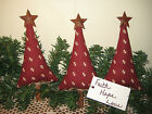 Set of 3 handmade fabric Prim Christmas trees bowl fillers Home Decor